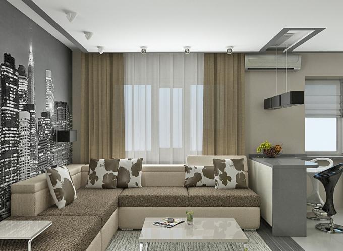 Серый цвет в дизайне однокомнатной квартиры