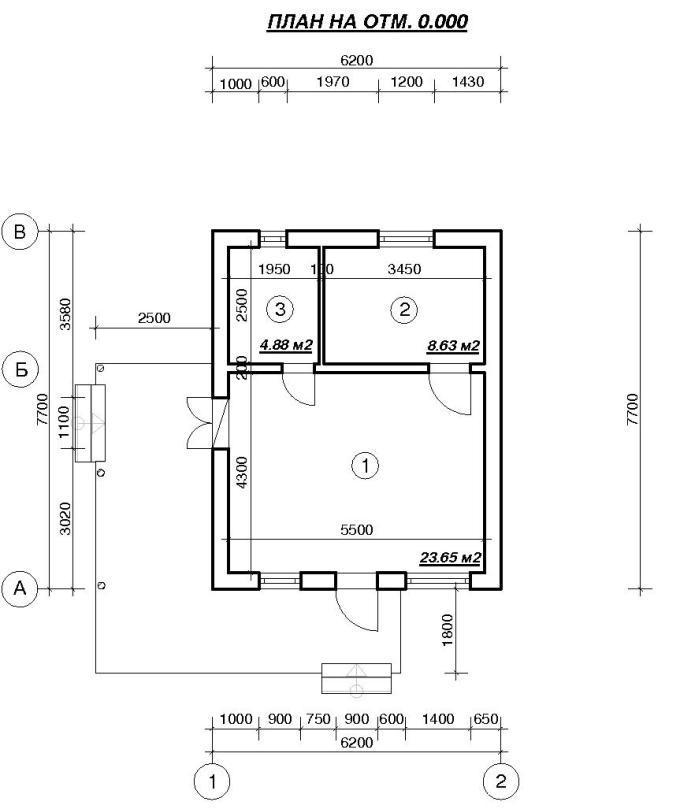 Планировка дачного домика 47 м2