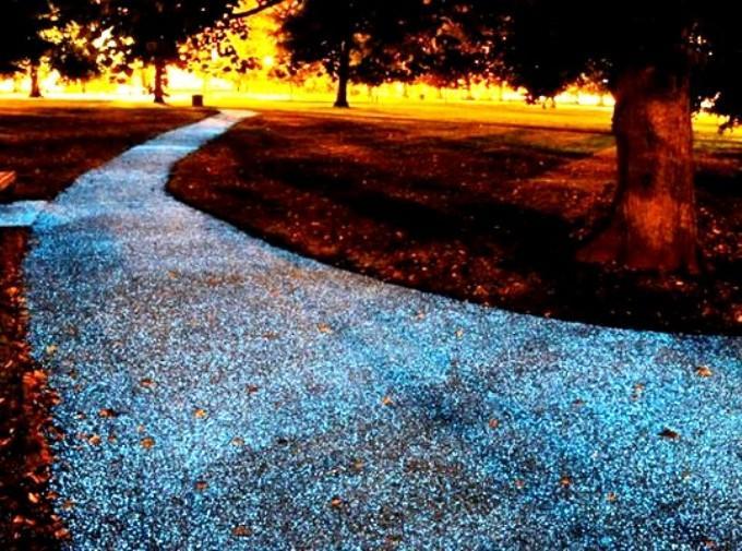Дизайн садовых дорожек из светящихся камней