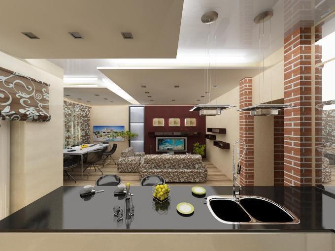 Зонирование кухни-студии фото