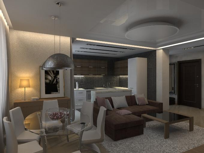 Дизайн кухни-студии в частном доме