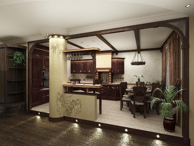Дизайн кухни-студии в частном доме фото