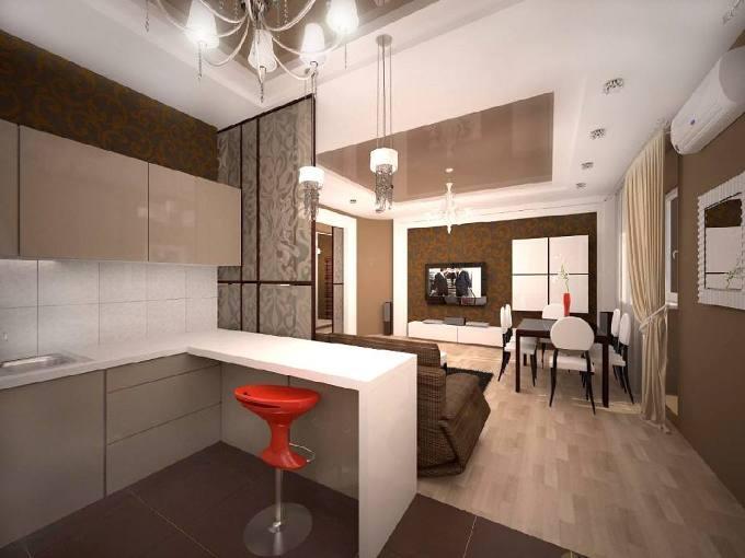 Проект дизайна кухни студии