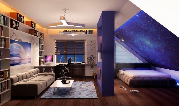 Детская комната на мансарде фото