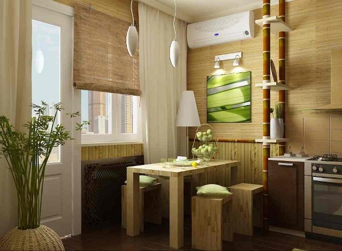 Бамбуковые обои в кухне на стенах