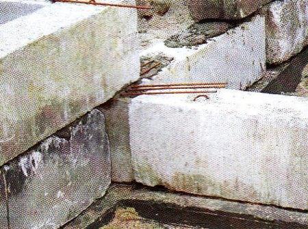 Армирование швов фундаментных блоков