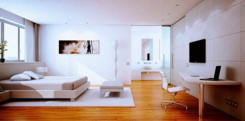 Белая спальня с деревянным полом