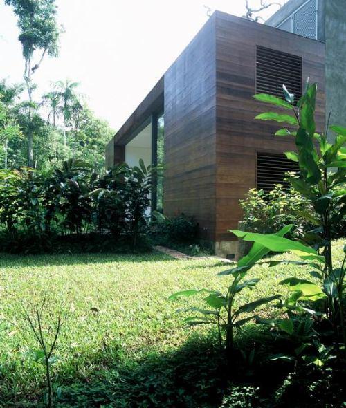 Боковой фасад дома в лесу