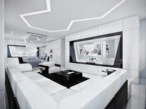 Большая гостиная с белым кожаным диваном