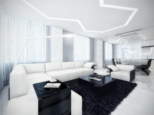 Черно-белая гостиная с белой лампой