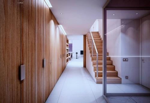 Деревянные шкафы и деревянная лестница