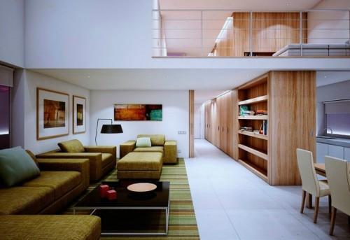 Деревянные стены разделяют функциональные зоны дома