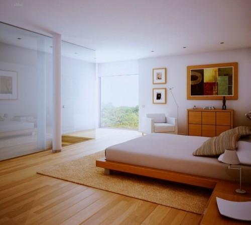 Деревянный пол и деревянная мебель в спальной