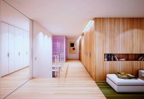 Деревянный пол и стена с книжной полкой