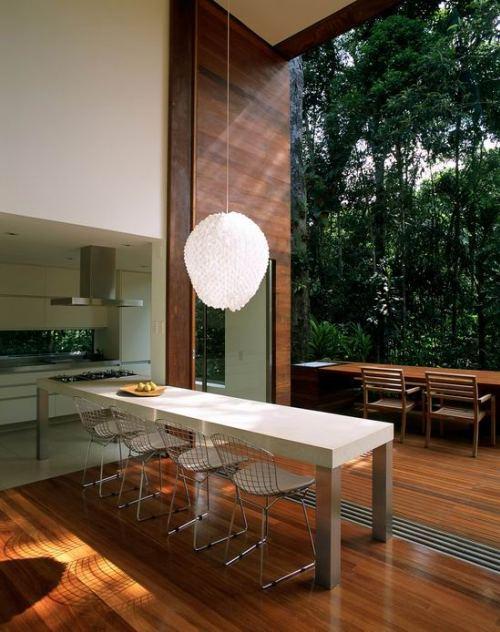 Обеденный стол с видом на лес