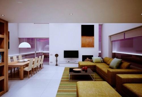 Общее пространство гостиной и столовой