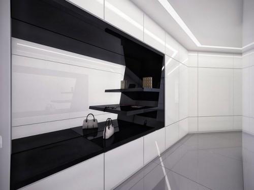 Современный черно-белый шкаф в прихожей