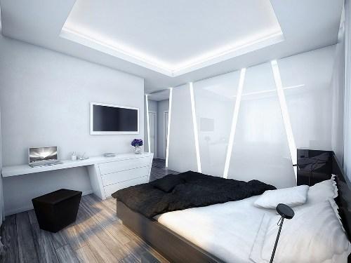 спальня с темным деревянным полом