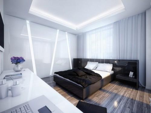 Светлая спальня с темной кроватью