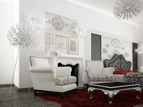 Белый, черный и красный цвет в интерьере гостиной