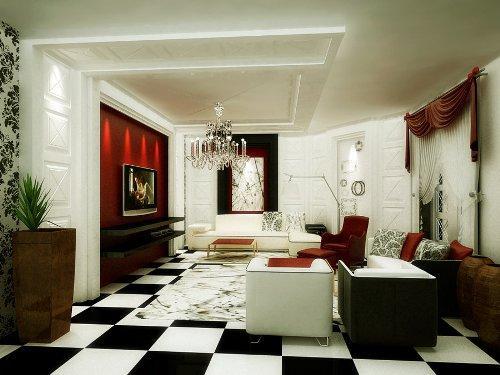 Черно-белый шахматный пол в интерьере гостиной