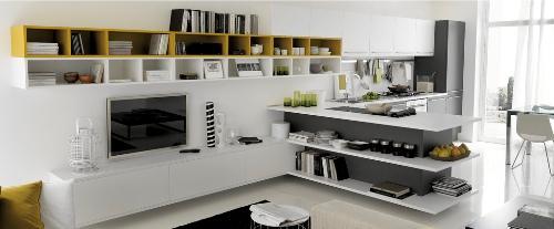 Открытое пространство между кухней и гостиной