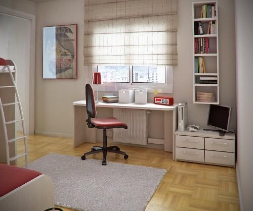 Рабочий стол в детской комнате возле окна