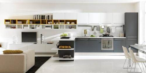Серый фасад кухни