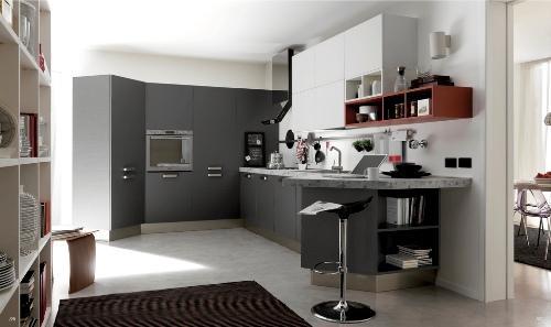 Серый и белый цвет на кухни