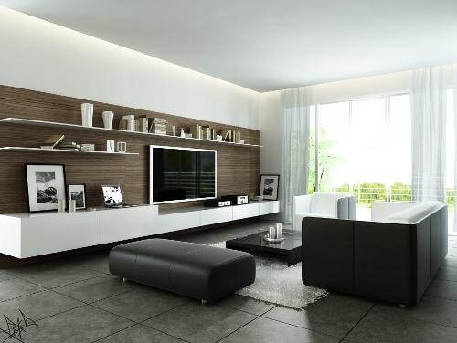 Современная гостиная с большим оконным витражом