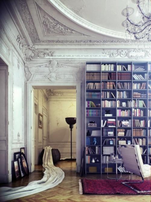 Интерьер библиотеки в старом доме