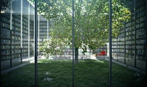 Интерьер библиотеки с зеленным уголком