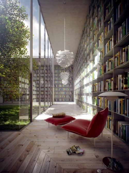Интерьер большой библиотеки