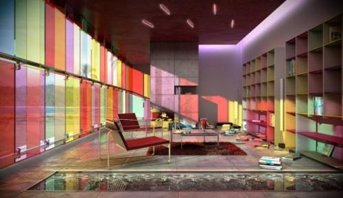 Разноцветный интерьер библиотеки