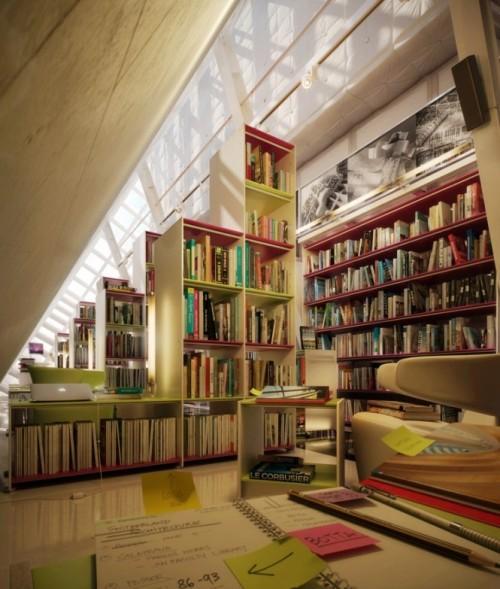 Интерьер библиотеки на мансардном этаже