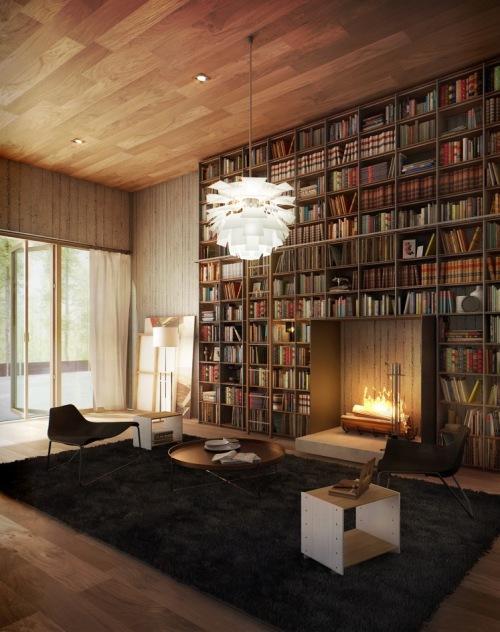 Интерьер библиотеки с камином