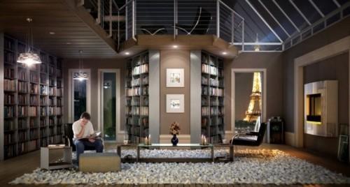 Интерьер библиотеки с большими окнами