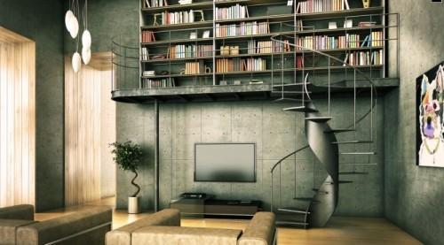 Современный интерьер библиотеки