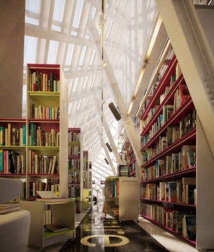 Интерьер библиотеки под стеклянной крышей