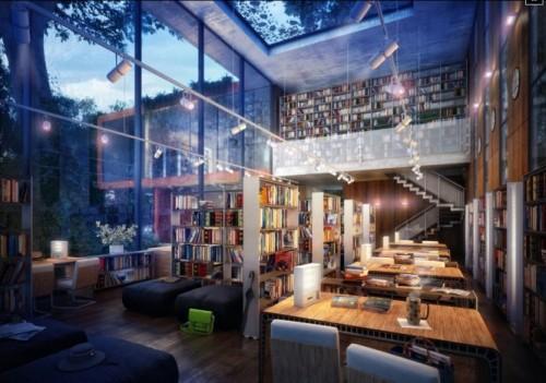 Интерьер библиотеки со стеклянными стенами и окном в потолке