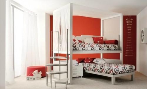 Интерьер детской спальни а белых и красных цветах