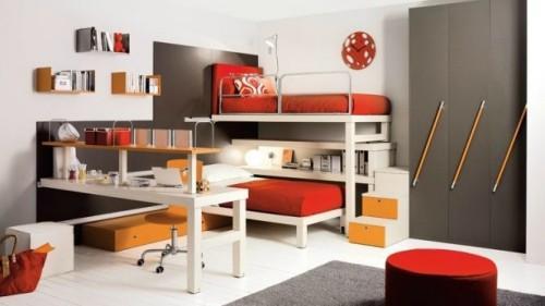Интерьер детской спальни с выдвижной кроватью
