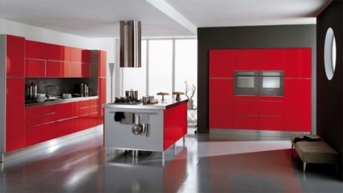 Красная кухня-островок