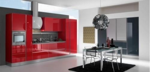 Модная красная кухня
