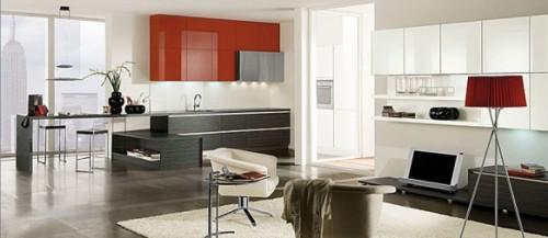 Красная кухня. Полочки над рабочей зоной