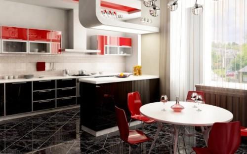 Красная кухня с красными стульями