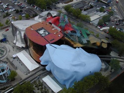 Музей научной фантастики в Сиэтле, США с высоты птичьего полета