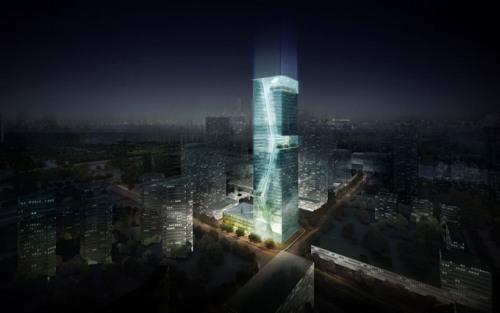 Небоскреб Guosen Secuirities в Шэньчжэнь светится ночью