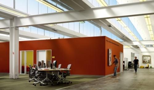 Новый дизайн офис Facebook. Есть место даже для езды на скейте
