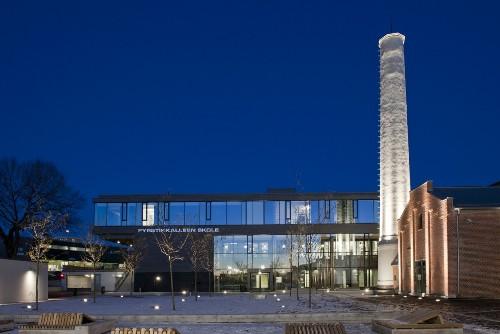 Школа F21 в Осло. Ночные огни школы
